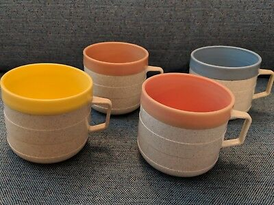 Vintage 1950's ~ 4 Cornish Therm-O Insulated Coffee Cups - Mugs - Dishes - Lot