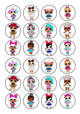 24 Lol Dolls Birthday  Wafer Rice Edible Fairy/Cup Cake Bun Toppers