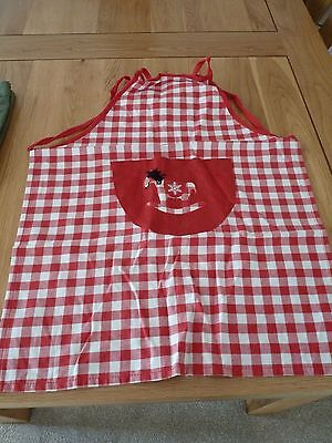 Pair of Cotton Childrens Aprons - red/whte check.