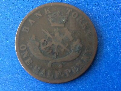 Bank Of Upper Canada Bank Token 1857 One Half Penny 1/2 Cent