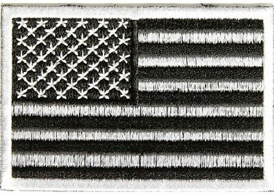 Subdued Black And White American Flag Usa Military Embroidered Iron On Patch