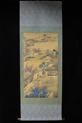 Very Large Old Chinese Scroll Hand Painting Landscape and Figures