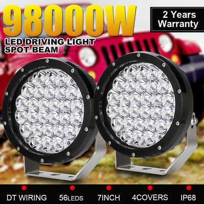 7inch 98000W Cree Round LED Driving Lights Work Spot Offroad Truck 4WD ATV Super