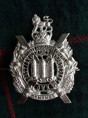 British Army Kosb Officers Fretted Silver Plated Cap Badge