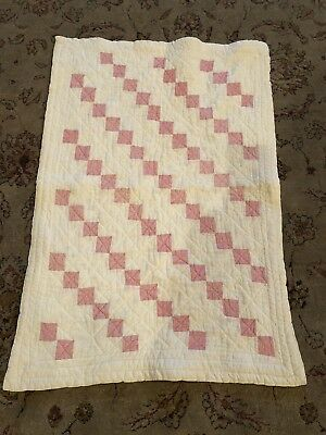 Antique Hand Quilted Doll Quilt 21x31 1910-1920