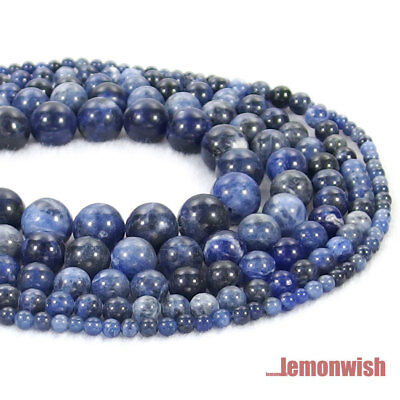 Natural Sodalite Gemstone Round Spacer Beads 15.5'' 4mm 6mm 8mm 10mm 12mm DIY
