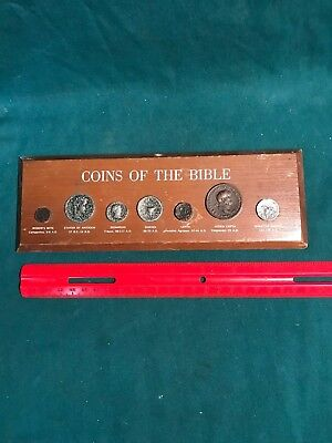 7 Coins Of The Bible Display on Wood - Widow's Mite, Shekel, Judea Capta+
