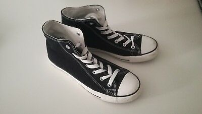 Black And White New Look Converse Style Lace Up Trainers UK ladies 6