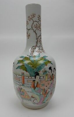 """Large Chinese Famille Rose  Vase with Calligraphy circa 1900. 15.5"""""""