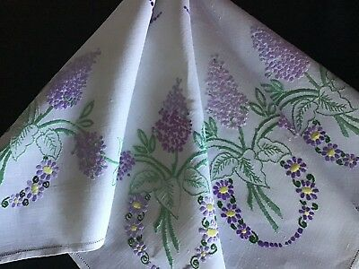 Beautiful Vintage Linen Hand Embroidered Tablecloth ~ Lilac Blossoms