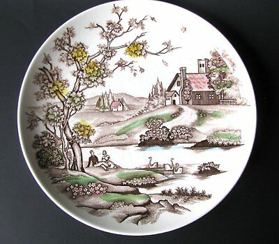 Vintage Polychrome Transfer Autumn Dreams Plate, Fall Scene Thanksgiving Plate