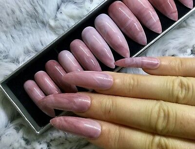 Rose Pink Marble False Fake Extra Long Stiletto Nails Set