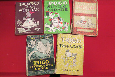 Pogo Possum books by Walt Kelly 1951-1965, 15 complete books