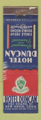 Matchbook Cover - Hotel Duncan New Haven CT WORN