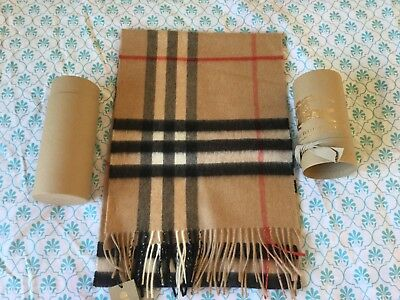 27e69404268d Burberry Giant Camel Check 100% Cashmere Scarf Bnwt+Tube Authentic 168X30  Unisex