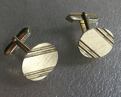 Cufflinks Vintage Mens Cuff Links 1960s 1970s OVAL GOLDTONE METAL STRIPED