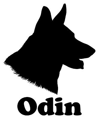 GERMAN SHEPHERD Head with Personalized Name Vinyl Decal Sticker GSD Dog Profile