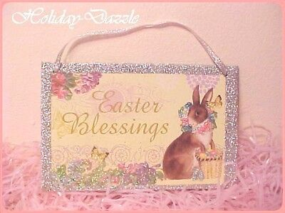 Adorable & Sparkly Glitter Easter Blessings Sign Bunny Rabbit & Basket of Eggs