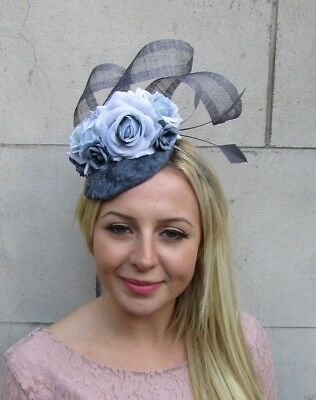 Charcoal Dark Light Blue Grey Flower Feather Hat Fascinator Hair Velvet 6373