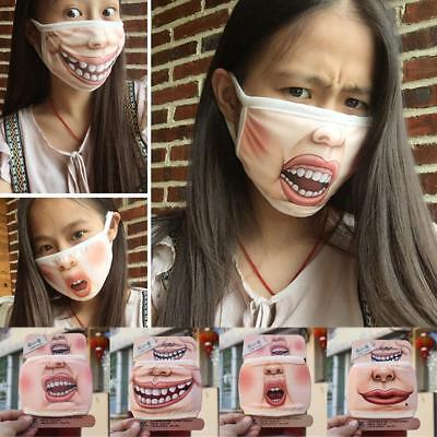 Men Women Outdoor Funny Cute Expression Mouth Mask Face Muffle Mask Respirator Q