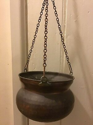 vintage hanging copper cauldron/pot/pan/planter