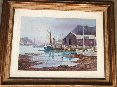 Vintage Listed Artist Allen Ulmer Signed Boat Yard Original Painting 70s or 80s