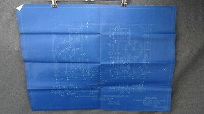 """(821) Original Undated Blueprint Drawing 17"""" x 24"""" - Base Plate for Steam Winch"""
