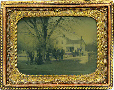Lovely ¼ Plate Horizontal Ambrotype of A Family Group Gathered in Front of Home