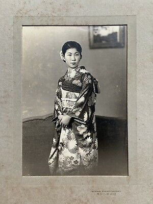 SALE Antique1930 Japan Old Photo Portrait of Japanese Girl Gorgeous Kimono Woman