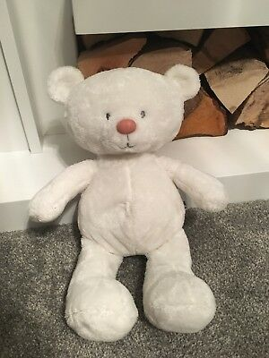 Mothercare White Love And Kisses Teddy Bear Comforter With Pink Nose ❤️