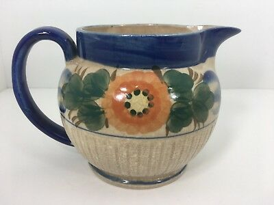 Vintage Floral Hand Painted Pottery China Pitcher made in Japan