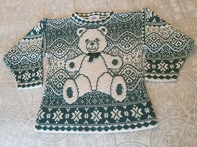 Vintage Heartworks Christmas Bear Sweater Youth 7/8 Small