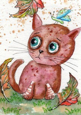 ACEO Original Painting Cat in Autumn Leaves ooak Whimsical Art by FAiRyPiGGleS