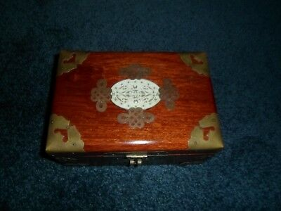 Vintage Chinese Jewelry Box Rose Wood Brass Carved Soap Stone Medallion