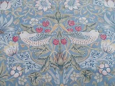 William Morris Curtain Fabric 'Strawberry Thief' 0.5 METRES (50cm) Slate/Vellum