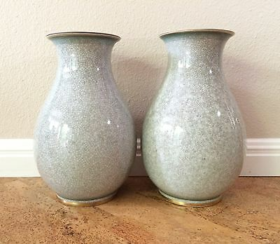 Rare Pair of Large Royal Copenhagen Green Crackle Craquelure Vases / Urns 1950s