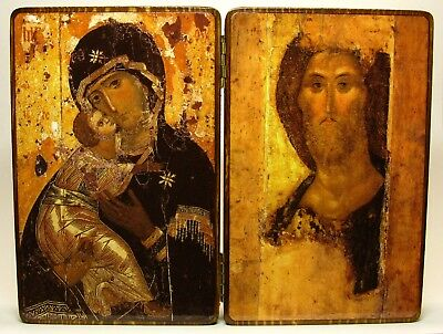 Orthodox Russian diptych icon Virgin Mary, mother of God and Jesus Christ Rublev