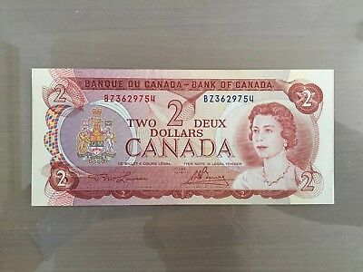 1974 Two 2 Deux Dollar Canada Prefix RE Canadian Uncirculated Banknote