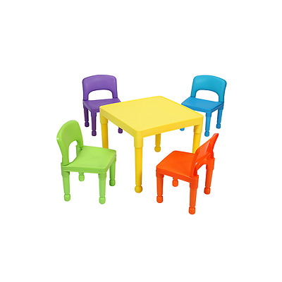 Children's Multi-Colored Table & 4 Chairs Set