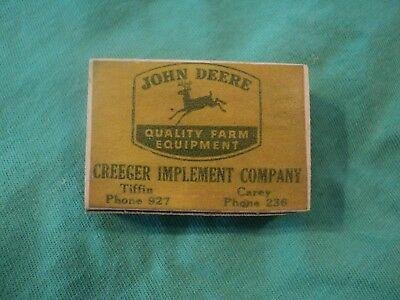 Vintage 1940's Box of Wood Matches John Deere Tiffin and Carey OH.