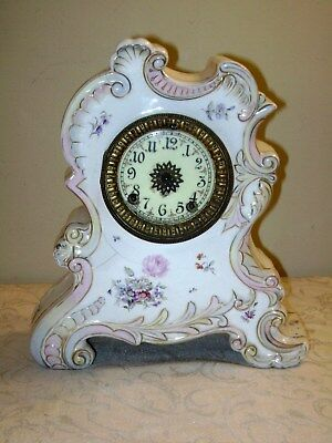 Vintage Floral Porcelain Ansonia Clock Parts or Repair