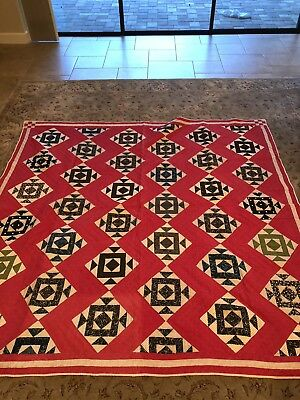 Antique Hand Quilted Quilt 79x81 1880s-1910s