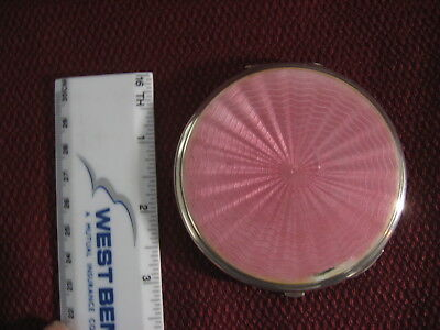 1930s PINK GUILLOCHE ENAMEL SILVER COMPACT (Hall-marked)