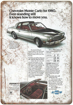 "1980 Chevy Monte Carlo Vintage Print Ad Retro 10"" x 7"" Reproduction Metal Sign"