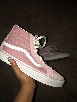 VANS MAHOGANY PINK and White Shoes Sk8-hi Men 7 Women 8.5 -  40.00 ... 762041e9b
