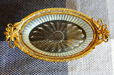 Vtg Ormolu Gold Gild & Glass Footed Soap Dish 6in W x 3.5in L No. K637c