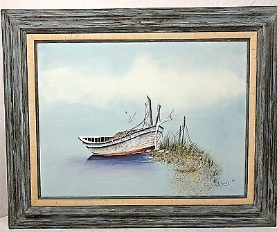 Framed Painting Fishing Boat Tied Up on Beach Signed Schoening '81