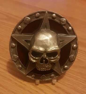 Skull Belt Buckle Pentagram Occult 3D Heavy Metal Gothic Red Authentic Pagan USA