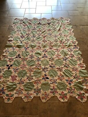 Antique Hand Quilted Quilt Top 63x90 1930s-1940s