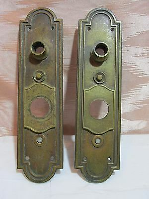 Pair of Antique Regal Bronze/Brass Door Knob Backplates